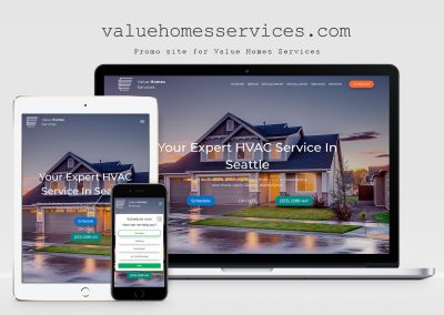 Website business card for Value Homes Services