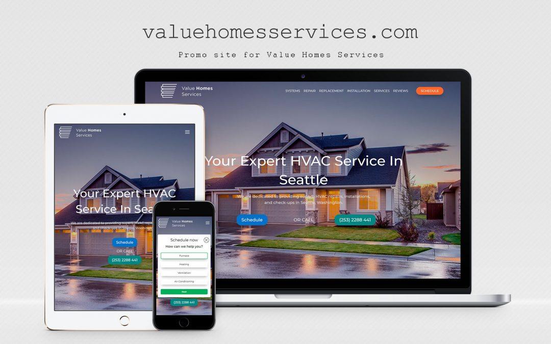 Site – carte de vizită pentru companie  Value Homes Services