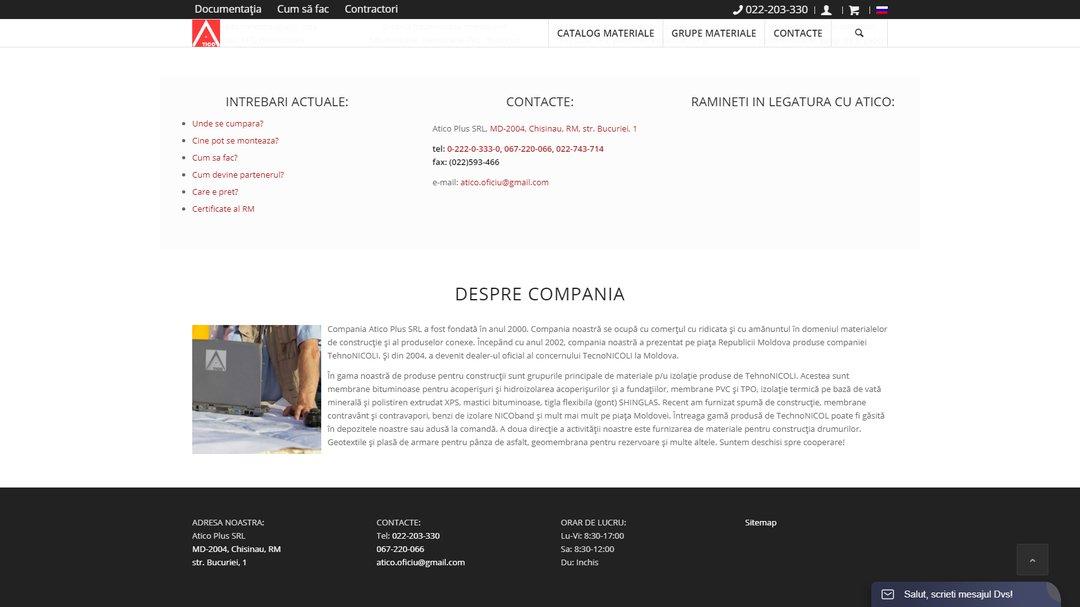 Сайт - каталог компании Атико Плюс 5