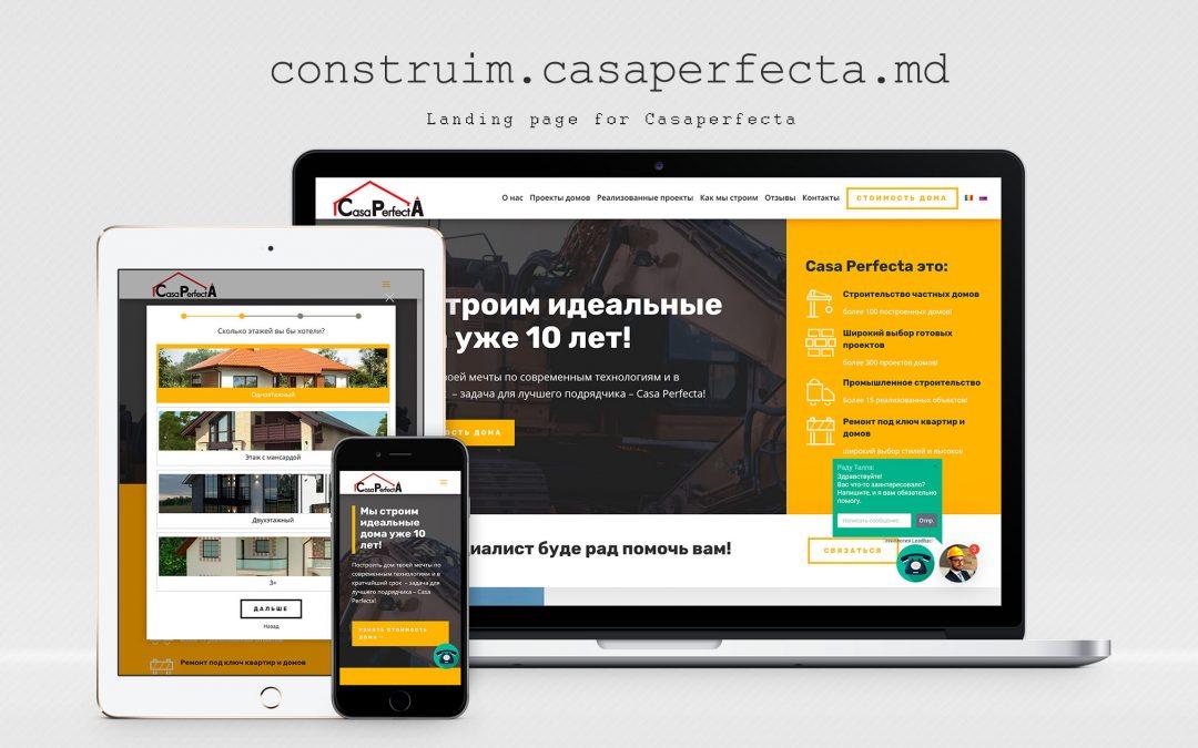 Landing page pentru o companie de construcții