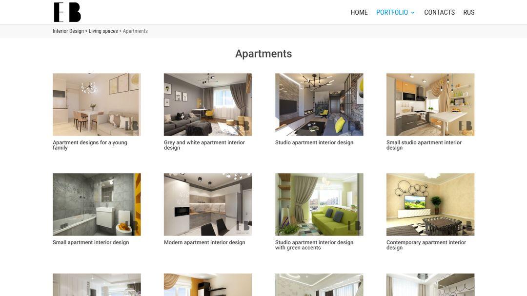 Сайт портфолио для дизайнера интерьеров 12