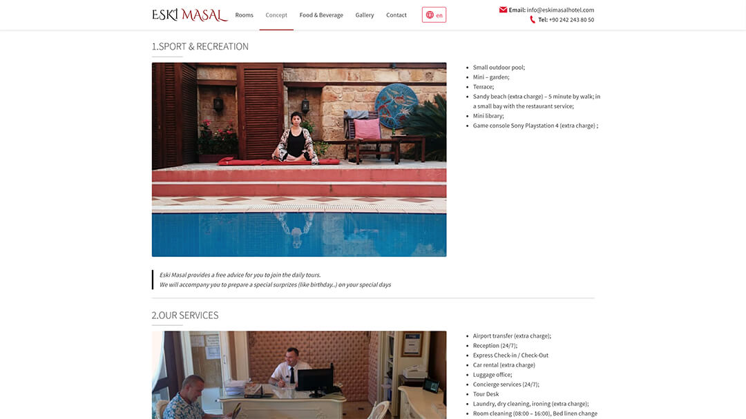 Alteration of the website of the Eski Masal hotel - 100% adaptability and speed increase from 8 to 2s! 8