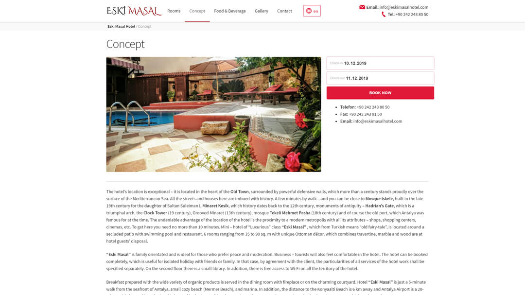 Alteration of the website of the Eski Masal hotel - 100% adaptability and speed increase from 8 to 2s! 7