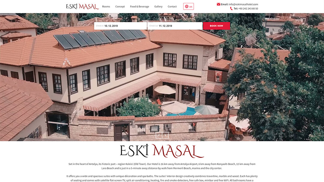 Alteration of the website of the Eski Masal hotel - 100% adaptability and speed increase from 8 to 2s! 2