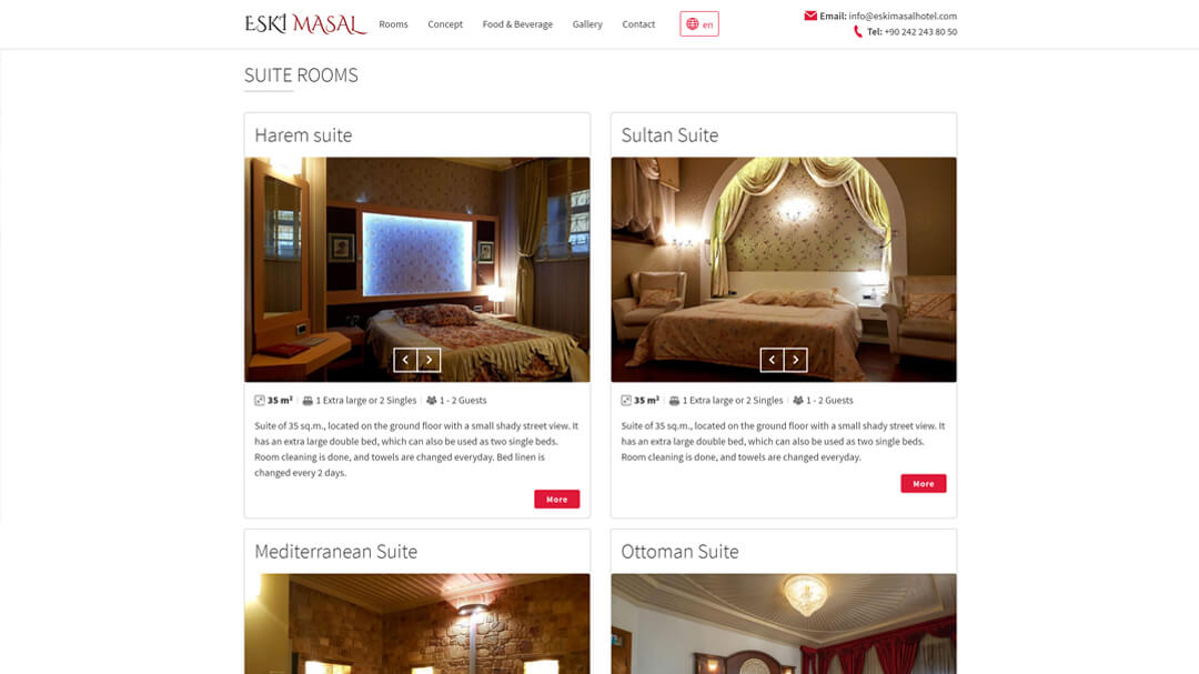 Alteration of the website of the Eski Masal hotel - 100% adaptability and speed increase from 8 to 2s! 3
