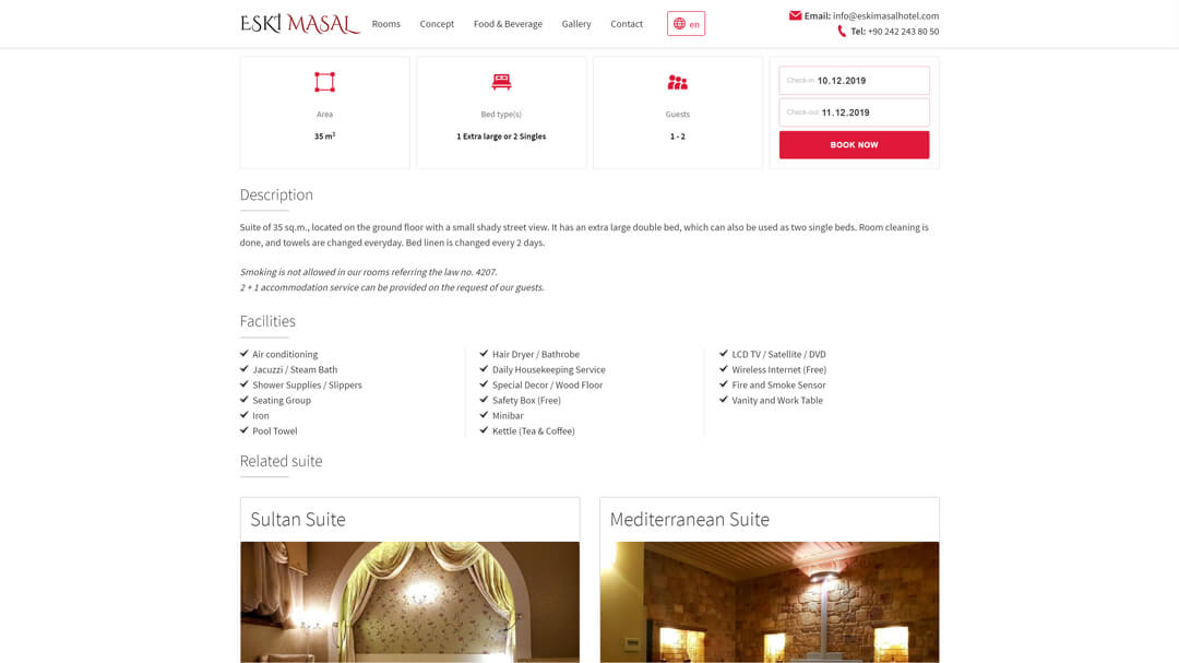 Alteration of the website of the Eski Masal hotel - 100% adaptability and speed increase from 8 to 2s! 6