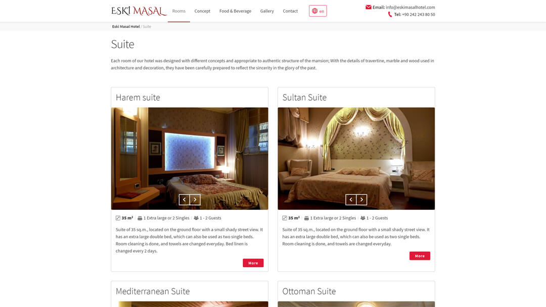Alteration of the website of the Eski Masal hotel - 100% adaptability and speed increase from 8 to 2s! 4