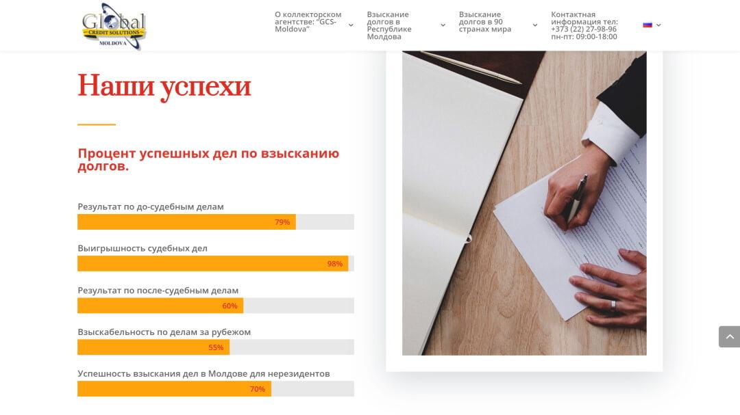 Переделка сайта коллекторского агентства GCS-Moldova 7