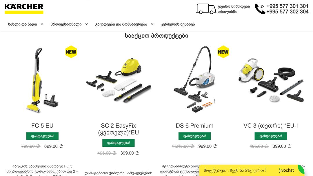 Переделка интернет-магазина Karcher Грузия 7
