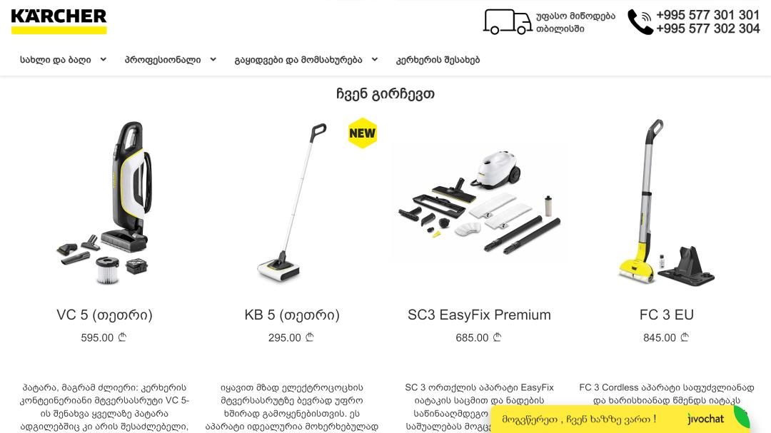 Переделка интернет-магазина Karcher Грузия 9