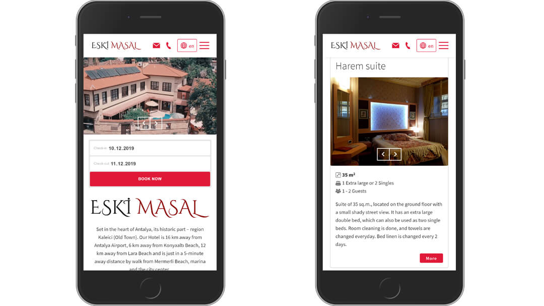 Alteration of the website of the Eski Masal hotel - 100% adaptability and speed increase from 8 to 2s! 11