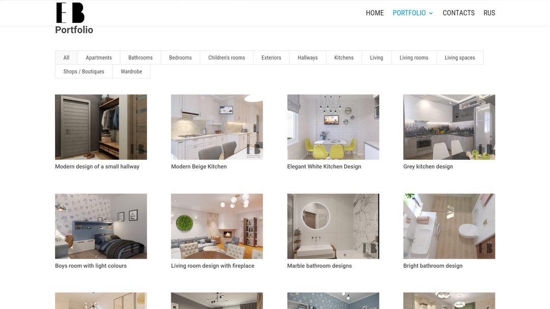 Сайт портфолио для дизайнера интерьеров 11