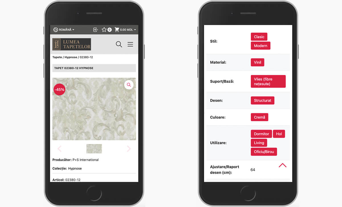 Redesign of the online store Lumea Tapetelor 30