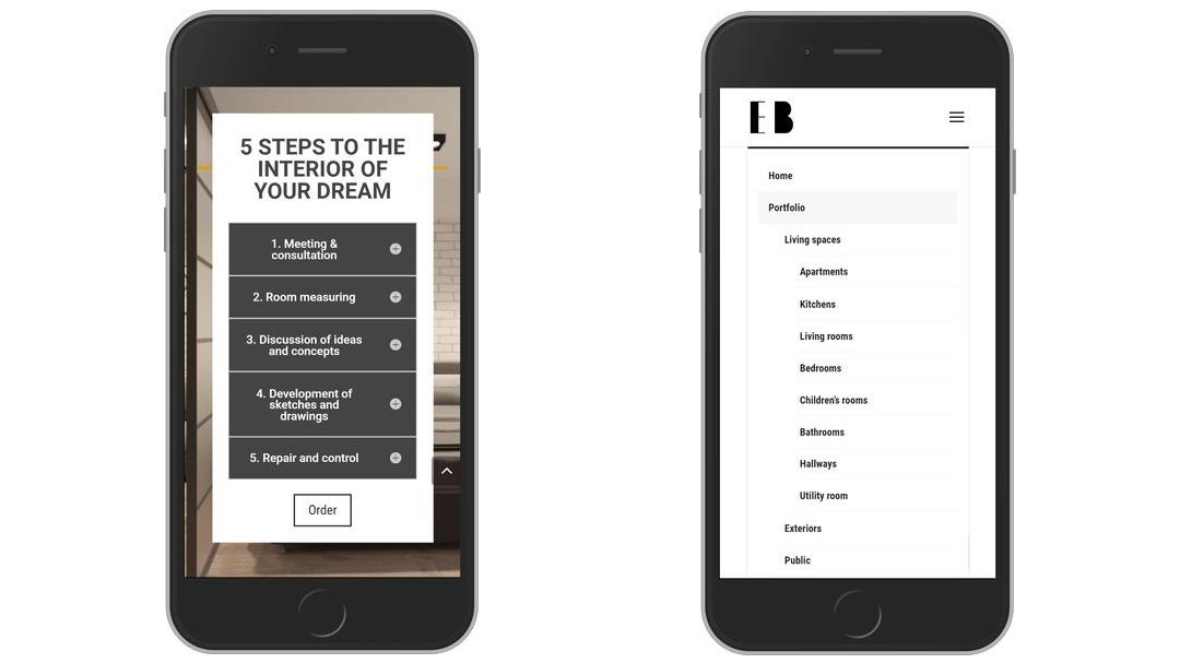 Сайт портфолио для дизайнера интерьеров 18