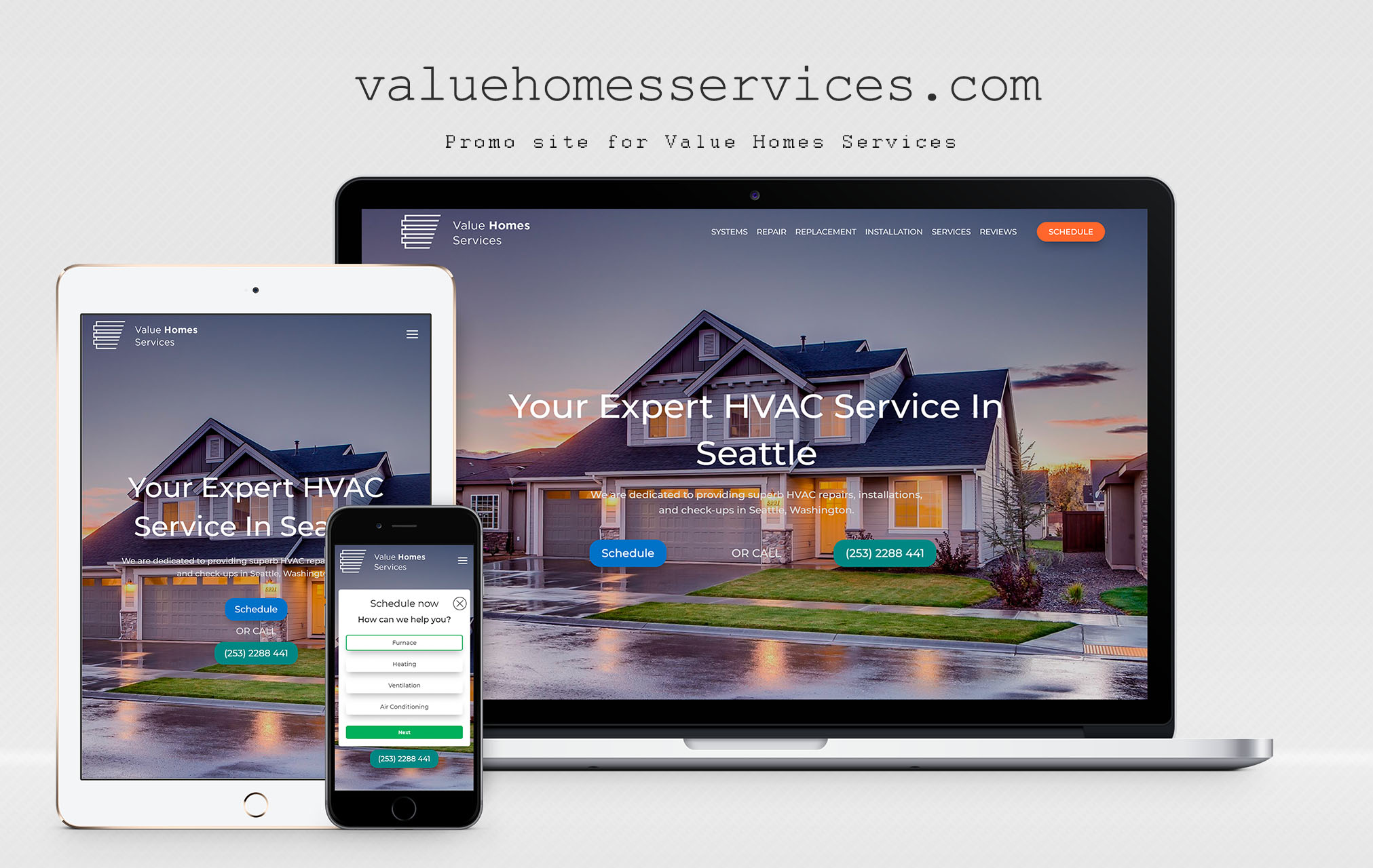 Сайт - визитка для компании Value Homes Services