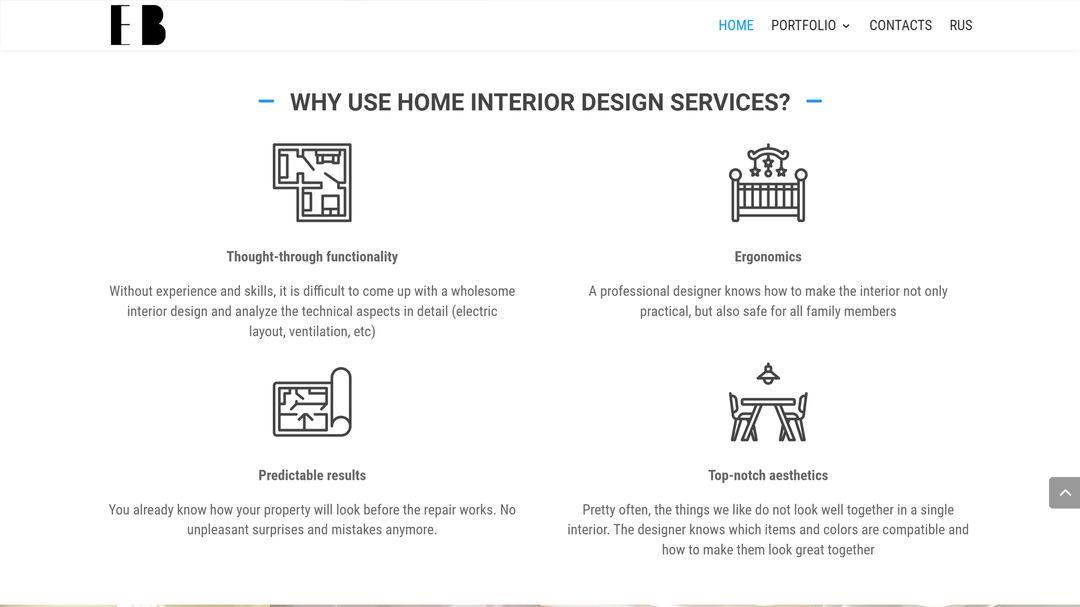 Сайт портфолио для дизайнера интерьеров 6